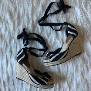 Kate Spade Stripe Lace Up Espadrille Wedge